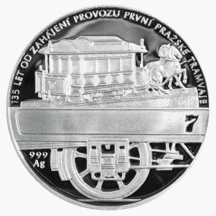 První pražská tramvaj stříbrná medaile 2010 42 g PROOF