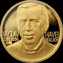 Zlatá půluncová medaile Václav Havel 2012 Proof