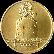 Zlatá minca 2500 Kč Vetrrný mlyn v Ruprechtově 2009 Štandard