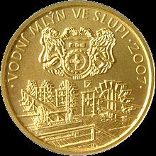 Zlatá minca 2500 Kč Vodný mlyn ve Slupi 2007 Štandard