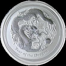 Stříbrná investiční mince Year of the Dragon Rok Draka Lunární 5 Oz 2012