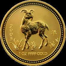 Zlatá investiční mince Year of the Goat Rok Kozy Lunární 1 Oz 2003