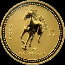 Zlatá investiční mince Year of the Horse Rok Koně Lunární 1 Oz 2002
