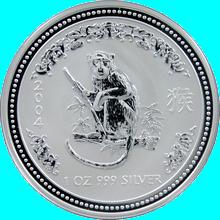 Stříbrná investiční mince Year of the Monkey Rok Opice Lunární 1 Oz 2004