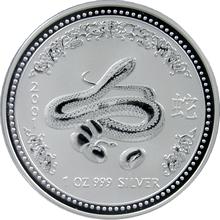 Stříbrná investiční mince Year of the Snake Rok Hada Lunární 1 Oz 2001