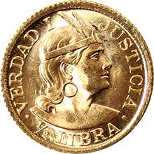 Zlatá minca 1/2 Libra Peru 1966