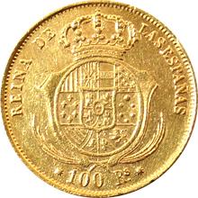 Zlatá mince 100 Reales Isabela II. Španělská 1859