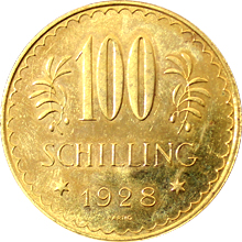 Zlatá mince 100 Šilink 1928