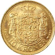 Zlatá mince 10 Koruna Frederik VIII. 1908