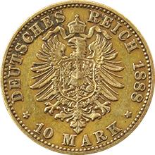 Zlatá mince 10 Marka Albert I. Saský 1888
