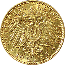 Zlatá mince 10 Marka 1890