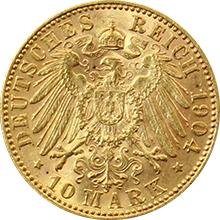 Zlatá mince 10 Marka Jiří I. Saský 1904