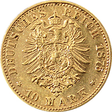 Zlatá mince 10 Marka Ludvík III. Hesenský 1875