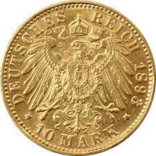 Zlatá mince 10 Marka Ota I. Bavorský 1893