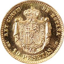 Zlatá mince 10 Pesetas Alfons XII. 1878 (novoražba 1962)
