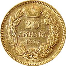 Zlatá minca 20 Dinara Kníže Milan Obrenović IV. 1879