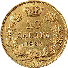 Zlatá mince 20 Dinara Milan I. Obrenović 1882