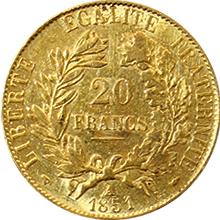 Zlatá mince 20 Frank 1851