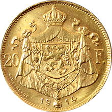 Zlatá mince 20 Frank Albert I. Belgický 1914 francouzský text