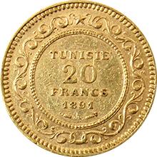 Zlatá minca 20 Frank Alí III ibn al-Husajn 1891