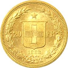 Zlatá mince 20 Frank Helvetia - Libertas 1883