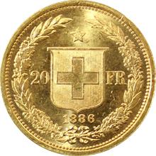 Zlatá mince 20 Frank Helvetia - Libertas 1886