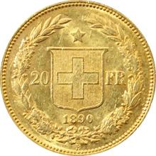Zlatá mince 20 Frank Helvetia - Libertas 1890