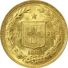 Zlatá mince 20 Frank Helvetia - Libertas 1891