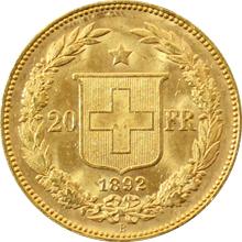 Zlatá mince 20 Frank Helvetia - Libertas 1892