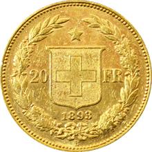 Zlatá mince 20 Frank Helvetia - Libertas 1893