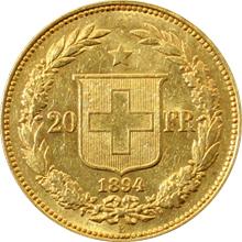 Zlatá mince 20 Frank Helvetia - Libertas 1894