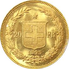 Zlatá mince 20 Frank Helvetia - Libertas 1895