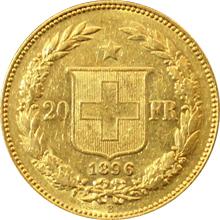 Zlatá mince 20 Frank Helvetia - Libertas 1896