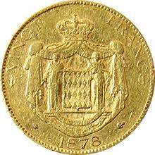Zlatá minca 20 Frank Karel III. Monacký 1878