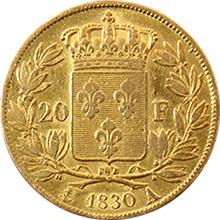 Zlatá mince 20 Frank Karel X. 1830