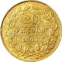 Zlatá mince 20 Frank Leopold I. Belgický 1865