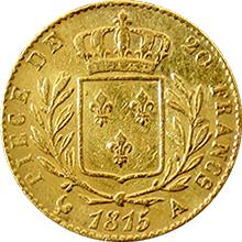 Zlatá mince 20 Frank Ludvík XVIII. 1815