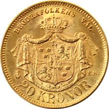 Zlatá mince 20 Koruna Oskar II. 1876