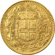 Zlatá mince 20 Lira Umberto I. 1882