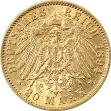 Zlatá mince 20 Marka Albert I. Saský 1894