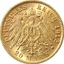 Zlatá mince 20 Marka Fridrich II. Bádenský 1912