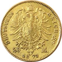 Zlatá mince 20 Marka Jan I. Saský 1872