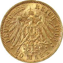 Zlatá mince 20 Marka Jiří I. Saský 1903