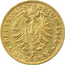 Zlatá mince 20 Marka Ludvík III. Hesenský 1874