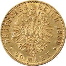 Zlatá mince 20 Marka Vilém II. Pruský 1889