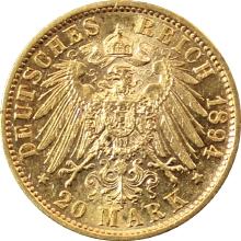 Zlatá mince 20 Marka Vilém II. Württemberský 1894