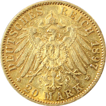 Zlatá mince 20 Marka Arnošt Ludvík Hesenský 1897