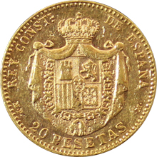 Zlatá mince 20 Pesetas Alfons XIII. 1890