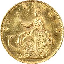 Zlatá mince 20 Koruna Kristián IX. 1876