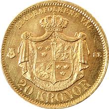 Zlatá mince 20 Koruna Oskar II. 1875
